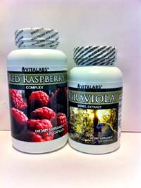 Cancer Fighting Combo -  Graviola 650mg & Red Raspberry 120 Capsules